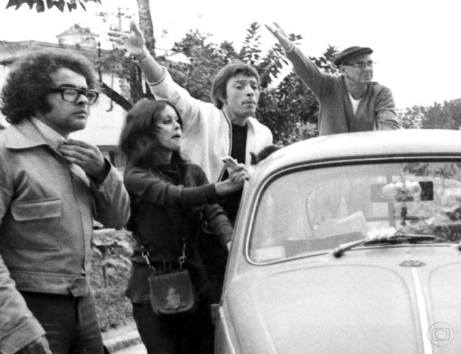 Osmar Prado, Djenane Machado, Paulo Araújo e Brandão Filho em A Grande Família - 1ª versão. (Foto: TV Globo/ Cedoc)