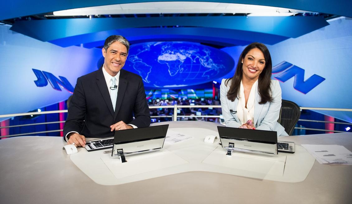 William Bonner e Patricia Poeta no comando do Jornal Nacional na Globo