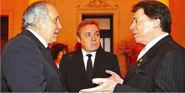 Homero Salles (esquerda) junto com Gugu e Silvio Santos
