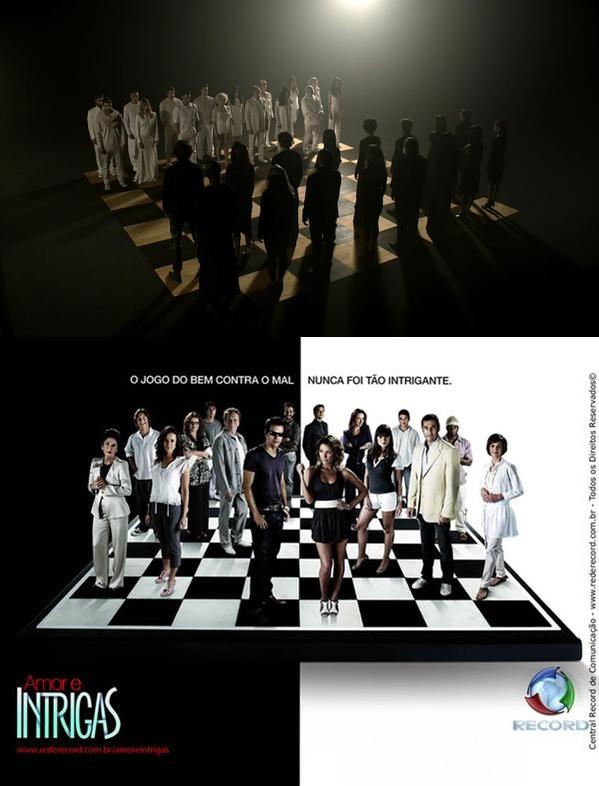 """Cena do teaser de """"A Regra do Jogo"""", da Globo, e divulgação de """"Amor & Intrigas"""", da Record (Fotos: Reprodução/ Globo/ Divulgação/ Record/ Montagem)"""