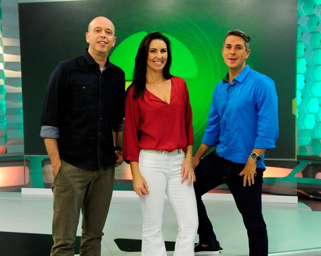 Alex Escobar, Glenda Kozlowski e Ivan Moré no estúdio (Foto: Globo/Estevam Avellar)