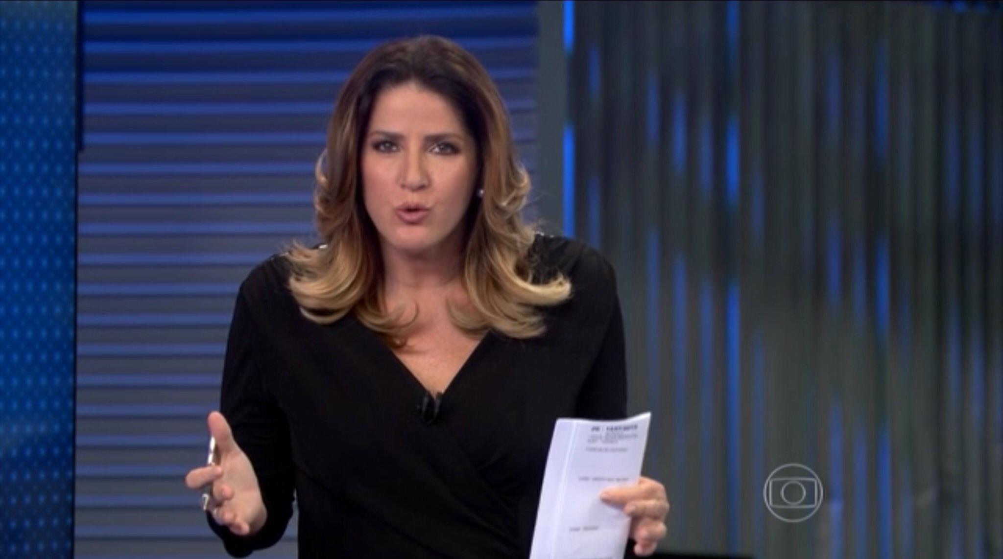 """Christiane Pelajo no """"Jornal da Globo"""" (Foto reprodução - Globo)"""