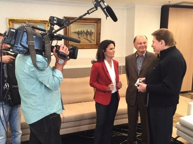 Adriana Araujo faz entrevista exclusiva com Silvio Santos (Foto: Divulgação)