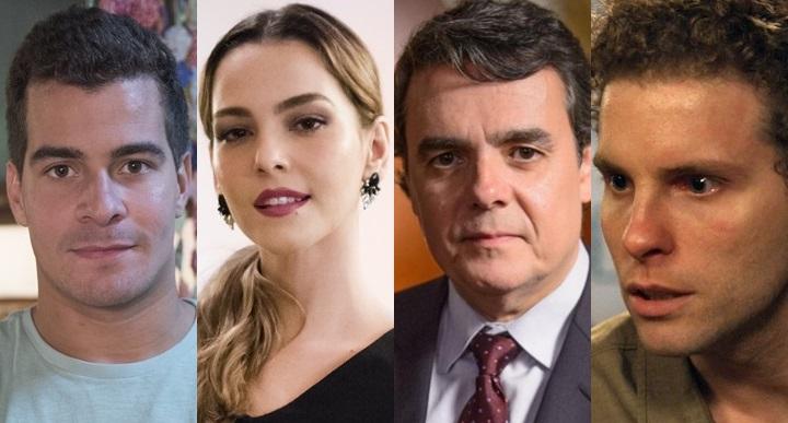 Diogo (Thiago Martins), Cris (Tainá Müller), Evandro (Cássio Gabus Mendes) e Vinícius (Thiago Fragoso) (Foto: Globo/ Divulgação/ Montagem)