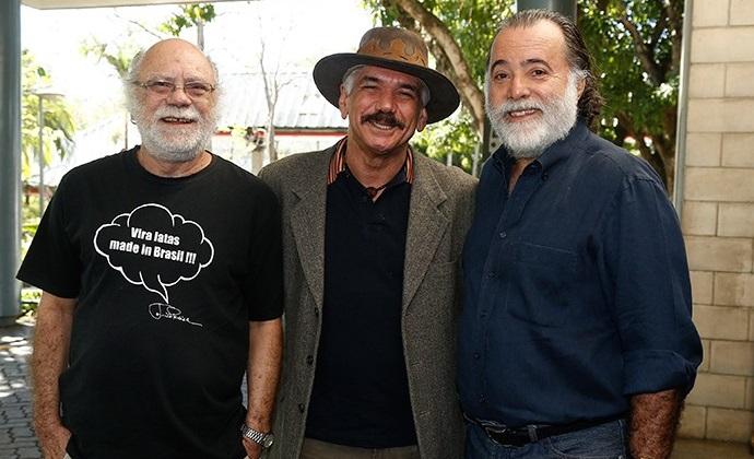 Tonico Pereira, Jackson Antunes e Tony Ramos celebram lançamento da novela (Foto: Raphael Dias/ Globo)