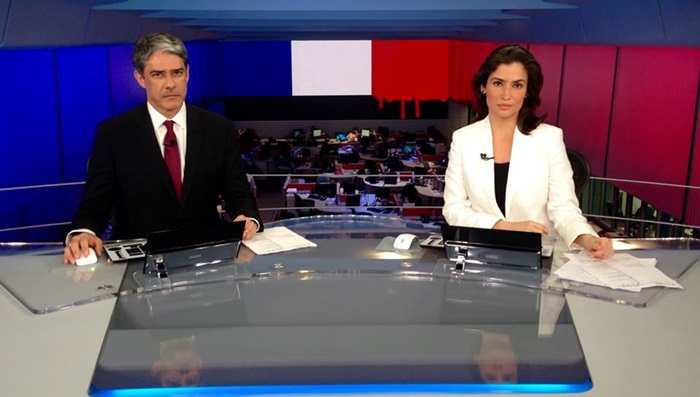"""William Bonner e Renata Vasconcellos apresentam o """"Jornal Nacional"""" (Foto: Divulgação/Globo)"""