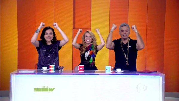 """Monica Iozzi, Joelma e Otaviano Costa na bancada do """"Vídeo Show"""" (Foto: Reprodução/Globo)"""