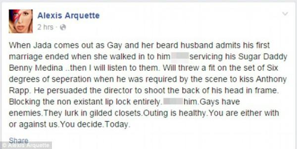 O depoimento de Alexis Arquette no Facebook foi posteriormente apagado (Foto: Reprodução)