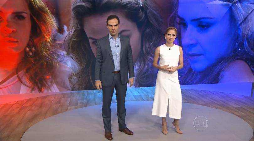 """Tadeu Schmidt e Poliana Abritta no """"Fantástico"""" de ontem (06) (Foto: Reprodução/Globo)"""