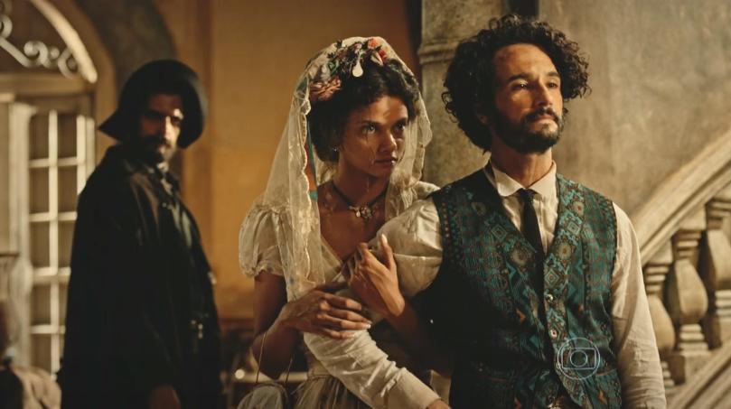 """Leonor (Marina Nery) e Afrânio (Rodrigo Santoro"""" em cena de """"Velho Chico"""" (Foto: Reprodução/Globo)"""