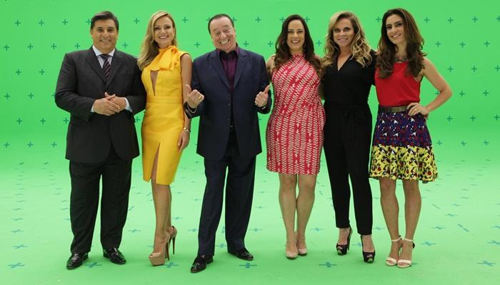 Carlos Nascimento, Eliana, Raul Gil, Silvia Abravanel, Christina Rocha e Ticiana Villas Boas (Foto: Leonardo Nones/SBT)