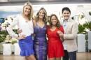 """Ana Hickmann, Ticiane Pinheiro, Renata Alves e Cesar Filho no """"Hoje em Dia"""" (Foto: Edu Moraes/Record)"""