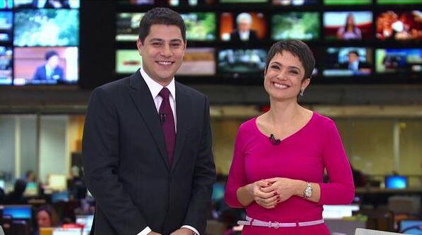 Evaristo Costa e Sandra Annenberg quando trabalhavam juntos no Jornal Hoje (Foto: Divulgação/TV Globo)