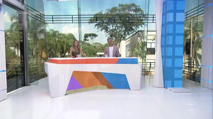 """Maíra Charken e Otaviano Costa no novo estúdio do """"Vídeo Show"""" (Foto: Reprodução/Globo)"""