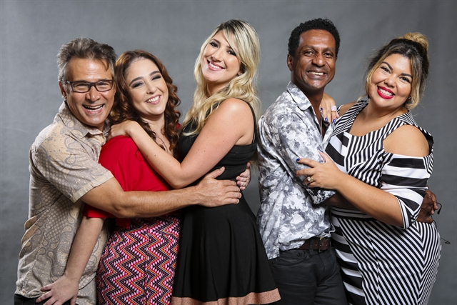 Nelson Freitas, Débora Lamm, Dani Calabresa, Luis Miranda e fabiana Karla (Foto: Globo/Tata Barreto)