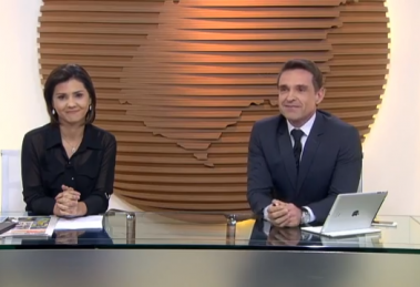 """Suelen Reis e Fábio Castro no """"Bom Dia Goiás"""" desta segunda (23) (Foto: Reprodução/Globo)"""