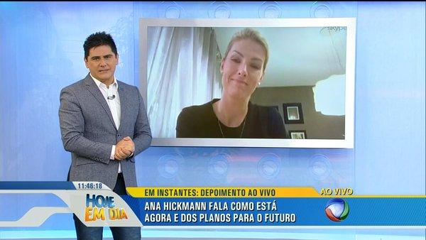 """Cesar Filho e Ana Hickmann (via Skype) no """"Hoje em Dia"""" (Foto: Reprodução/Record)"""