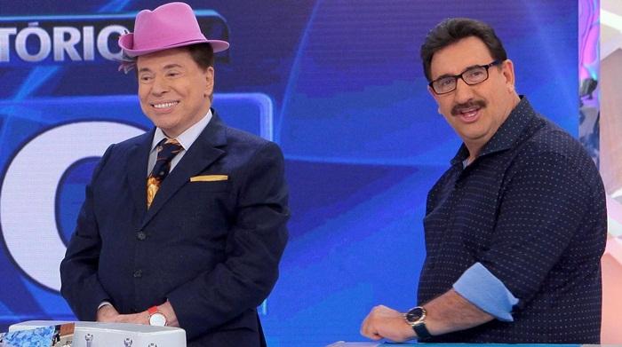 "Silvio Santos e Ratinho no ""Programa Silvio Santos"" (Foto: Lourival Ribeiro/SBT)"