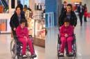 Claudia Rodrigues foi flagrada de cadeira de rodas em uma aeroporto de Curitiba (Foto: William Oda / AgNews)