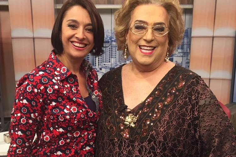 Mamma ao lado de Cátia Fonseca no então programa Mulheres da TV Gazeta. (Foto: Divulgação)