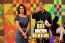 """Fátima Bernardes e William Bonner, no """"Encontro"""" especial de aniversário de 50 anos da apresentadora (Foto: Globo/Alex Carvalho)"""