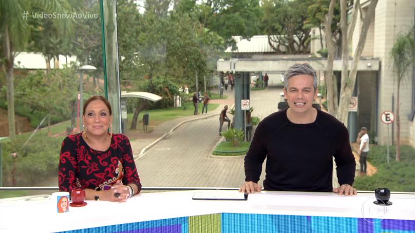 """Susana Vieira e Otaviano Costa no comando do """"Vídeo Show"""" (Foto: Reprodução/Globo)"""