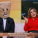 """Mara Maravilha e """"Homem do Saco"""" no """"Fofocando"""" (Foto: Reprodução/SBT)"""