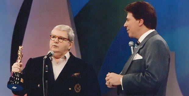 Jô Soares e Silvio Santos na entrega do Troféu Imprensa em meados de 1990 - Foto