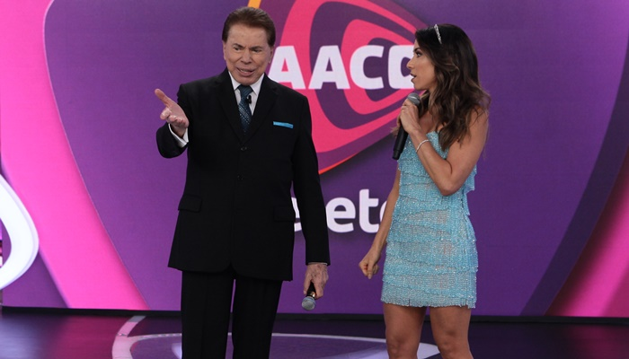 "Silvio Santos e Patrícia Abravanel no ""Teleton"" (Foto: Lourival Ribeiro/SBT)"