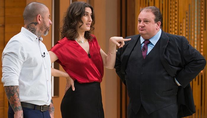 "Henrique Fogaça, Paola Carosella e Eric Jacquin no ""MasterChef"" (Foto: Carlos Reinis/Band)"