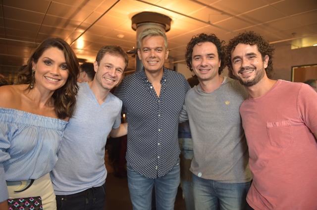 Flavia Alessandra , Tiago Leifert , Otaviano Costa , Marco Luque e Felipe Andreoli (Foto: Globo/ Mauricio Fidalgo)