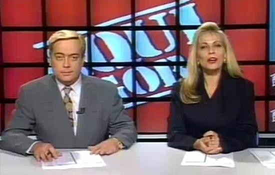 """Ivo Morganti e Christina Rocha no comando do """"Aqui Agora"""", nos anos 90 (Foto: Divulgação)"""