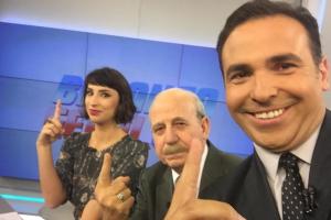 """Poliana Rozado, Renato Lombardi e Reinaldo Gottino no """"Balanço Geral SP"""" (Foto: Reprodução/Instagram)"""