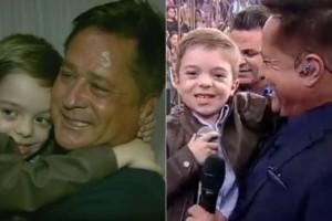 """O menino Felipe com Leonardo em jornal local da EPTV (à esquerda) e no """"Hora do Faro"""", na Record (Foto: Reprodução/EPTV/Record)"""
