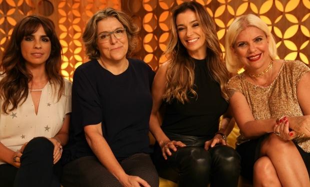 """Maria Ribeiro, Bárbara Gancia, Mônica Martelli e Astrid Fontenelle no """"Saia Justa"""" (Foto: Tricia Vieira)"""