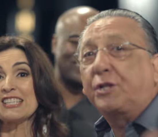 Fátima Bernardes e Galvão Bueno na vinheta de fim de ano da Globo (Foto: Reprodução/Globo)