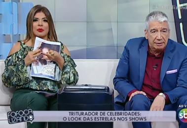 """Mara Maravilha e Décio Piccinini durante o """"Fofocalizando"""" (Foto: Reprodução/SBT)"""