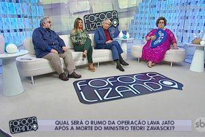 """Leão Lobo, Mara Maravilha, Décio Piccinini e Mamma Bruschetta na estreia do """"Fofocalizando"""" (Foto: Reprodução/SBT)"""