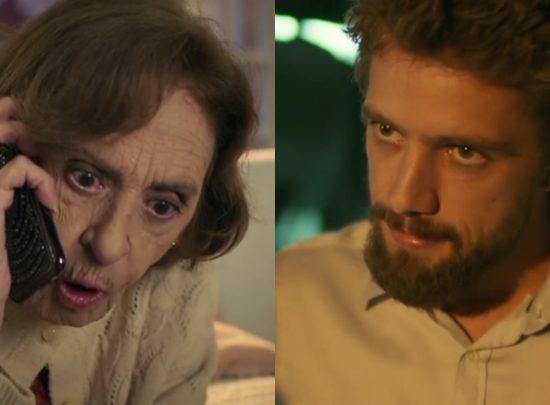 """Sinhá (Laura Cardoso) e Cesar (Rafael Cardoso) em cenas de """"Sol Nascente"""" (Foto: Reprodução/Globo/Montagem)"""
