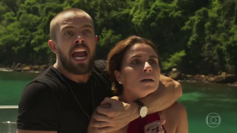 """Cesar (Rafael Cardoso) e Alice (Giovanna Antonelli) em cena do último capítulo de """"Sol Nascente"""" (Foto: Reprodução/Globo)"""