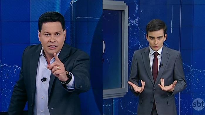 """Marcão do Povo e Dudu Camargo no comando do """"Primeiro Impacto"""" à tarde (Foto: Reprodução/SBT)"""