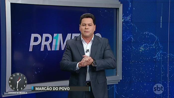"""Marcão do Povo apresenta o """"Primeiro Impacto"""" (Foto: Reprodução/SBT)"""