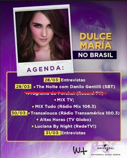 Agenda de Dulce Maria no Brasil. Foto - divulgação.