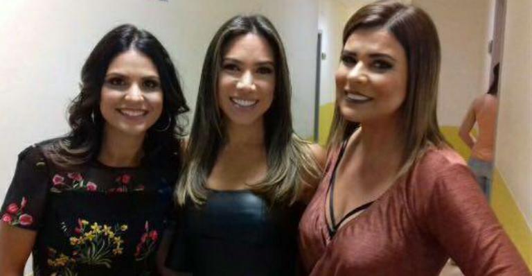Aline Barros, Patrícia Abravanel e Mara Maravilha nos bastidores do SBT (Foto: Reprodução)
