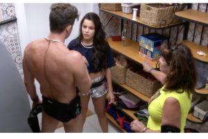 Marcos, Ieda e Emilly brigam na dispensa (Foto Gshow)