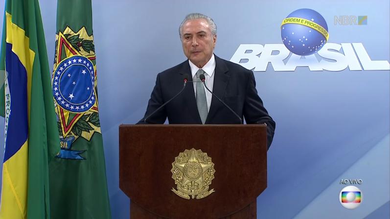 O presidente Michel Temer durante pronunciamento, ao vivo, na Globo (Foto: Reprodução/Globo)