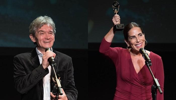 Serginho Groisman Glória Pires no Brazilian International Press Awards (Foto: Globo/Fabiano Silva)