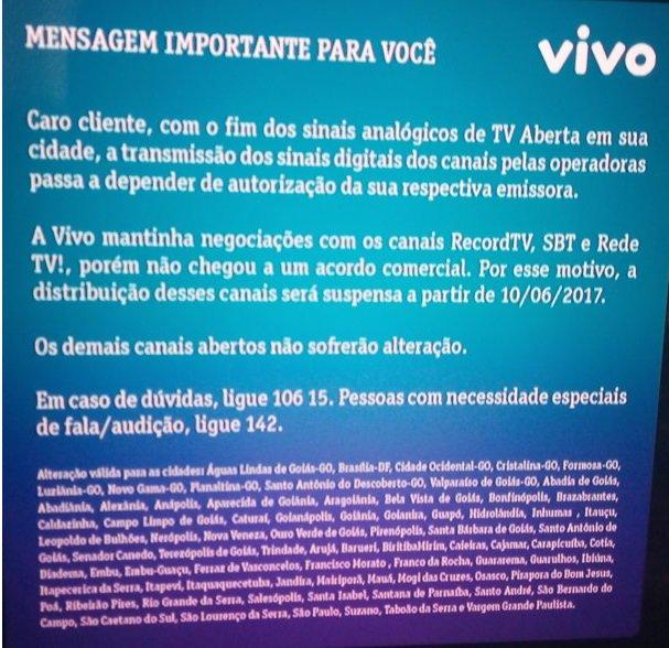 Anúncio da Vivo sobre a interrupção dos sinais de Record, SBT e RedeTV!<br /> (Foto: Reprodução)