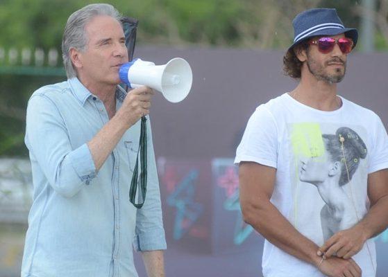 "Roberto Justus e Diego Cristo no ""Power Couple"" (Foto: Antonio Chahestian/Record)"