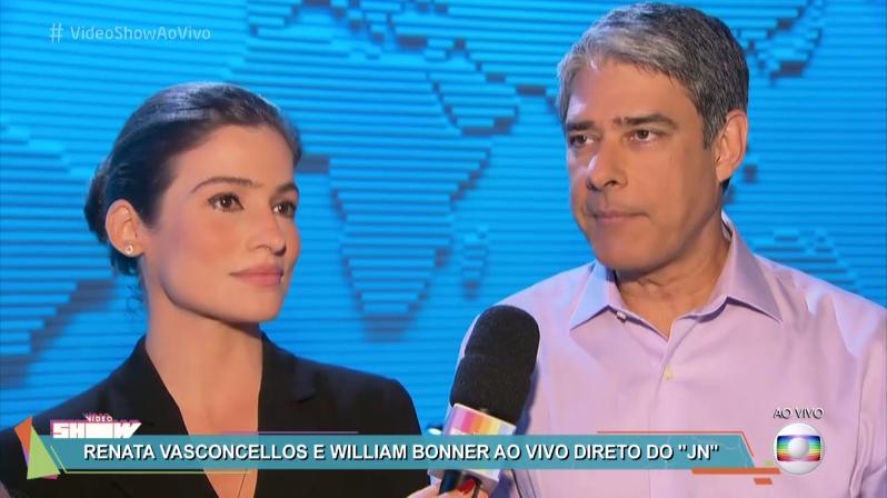 """Renata Vasconcellos e William Bonner durante entrevista ao """"Vídeo Show"""" (Foto: Reprodução/Globo)"""
